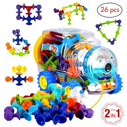 Educational toys by BLAGOO Building Blocks for Boys & Girls 3, 4, 5, 6, 7+ Years Old for Kids Toddlers Suction Silicone 7 Colors 26 pcs Car Set Jumbo Size
