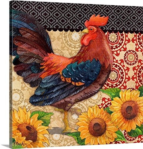 Paul Brent Premium Thick-Wrap Canvas Wall Art Print entitled Roosters and Sunflowers