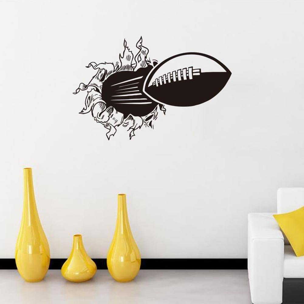 BIBITIME Rugby Break Through Wall Sticker American Football Wall Decals Vinyl Art Mural for Sport Fans Boys Bedroom Living Room