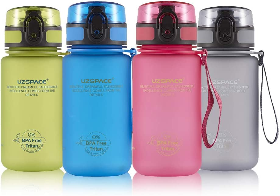 UZSPACE Botella de 350 ml Sin BPA Niños, Tapa a Prueba de Fugas, 12 oz, Ecológica, No Tóxica, Apta para Lavavajillas, Plástico Tritan - para Escuela, Deportes, Running, Gimnasio, Oficina y Camping