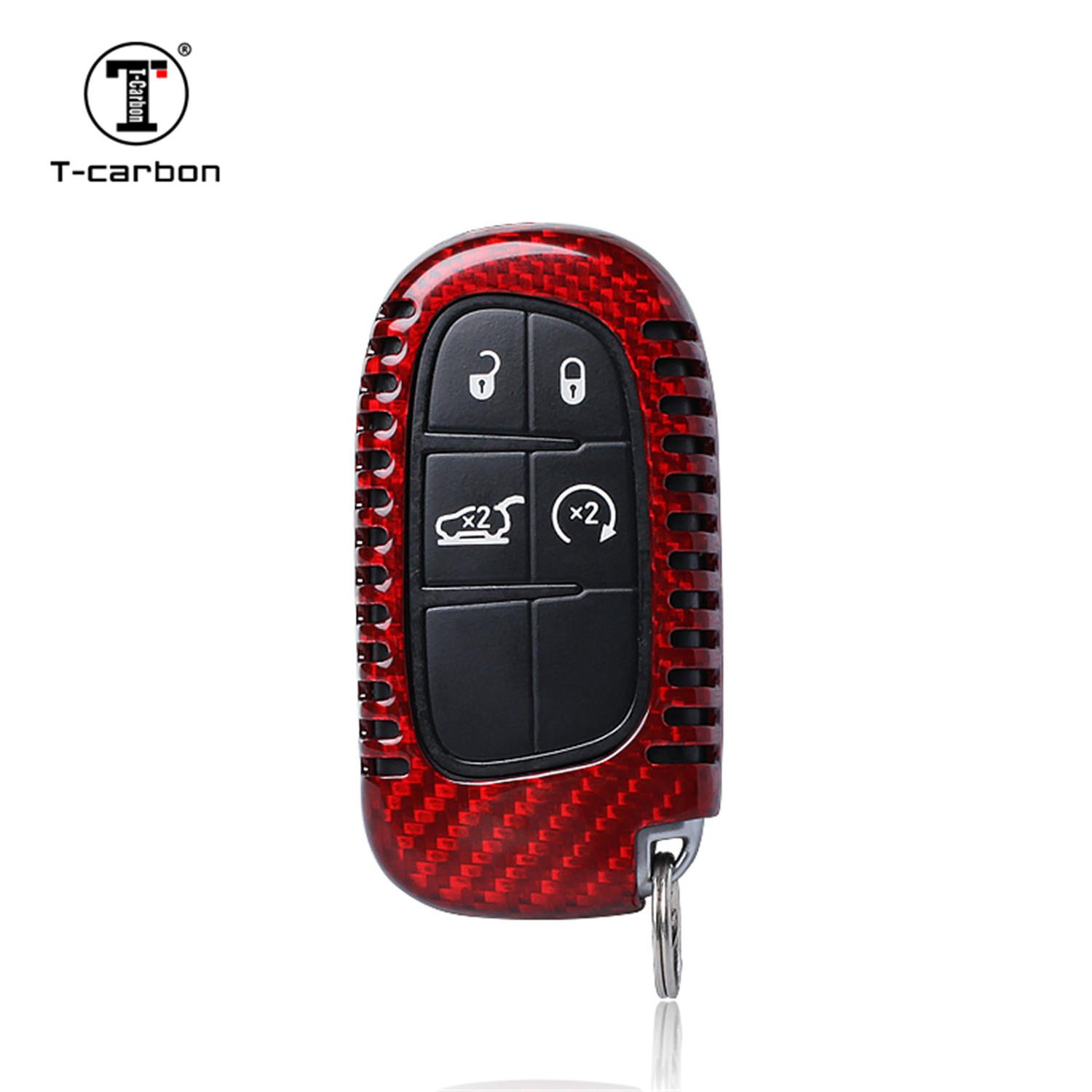 MissBlue Carbon Fiber Key Fob Cover for Jeep Cherokee Key Fob Remote Key, Fits Jeep Cherokee Smart Keyless Start Stop Engine Car Key, Light Weight Glossy Finish Key Fob Protection Case - Red