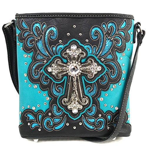 Justin West Bling Gleam Rhinestone Cross Floral Messenger Bag Purse with Long Cross Body Strap (Turquoise Messenger Only)