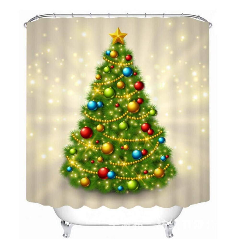 Home Shower Curtain 1pcs Christmas Shower Curtain 3D Photo Christmas Tree Bells Printing Polyester Mildewproof Durable Toilet Shade Super Quality Opaque Bathroom Amenities Fabric Block Curtain with Ho by GouuoHi (Image #1)