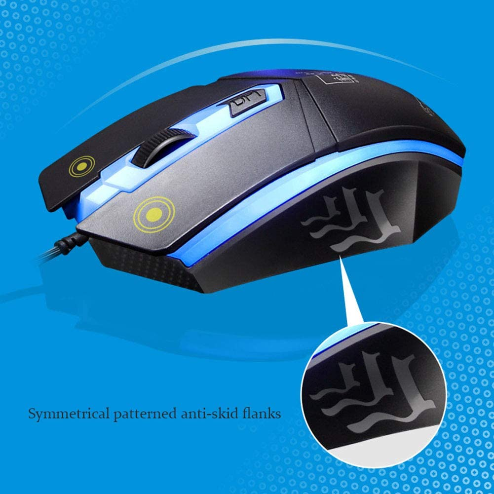HLL Computer Mechanical Mouse and Keyboard Set Includes Keyboard and Mouse Ergonomic Wave Design with 1 USB Receiver
