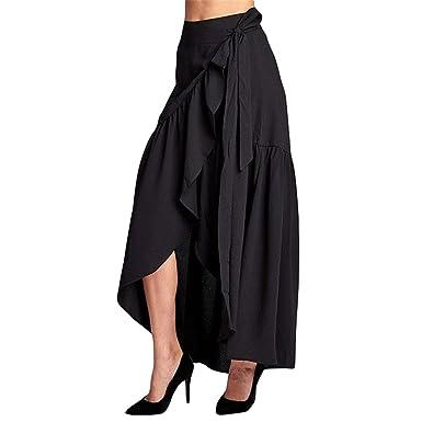 4f1d09f230 Qus Black Frilled Wrap Maxi Skirt Chiffon Tie-Waist Split Ruffle Skirt  Asymmetric Skirt Loose