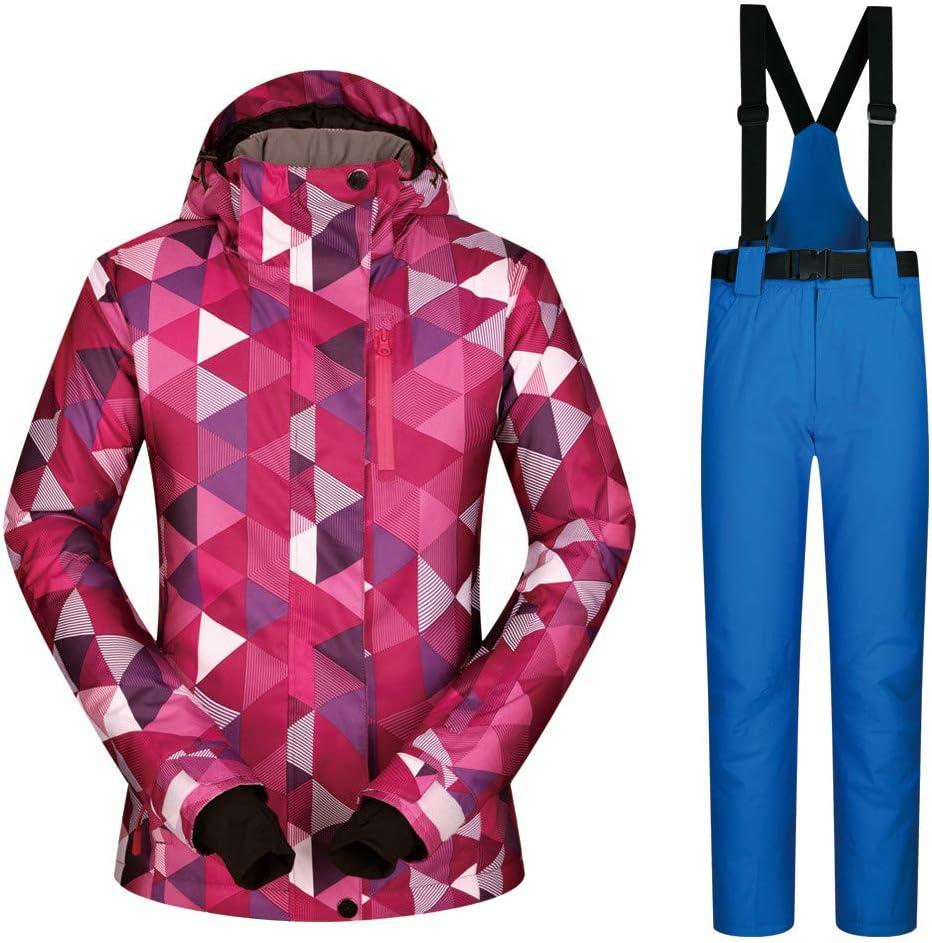 女性のカラフルなスキージャケットとズボンセット スキースーツ女性のスーツ防水と風通しの良い通気性の暖かいスキーパンツ 防風 (色 : 青 pants, サイズ : L) 青 pants Large