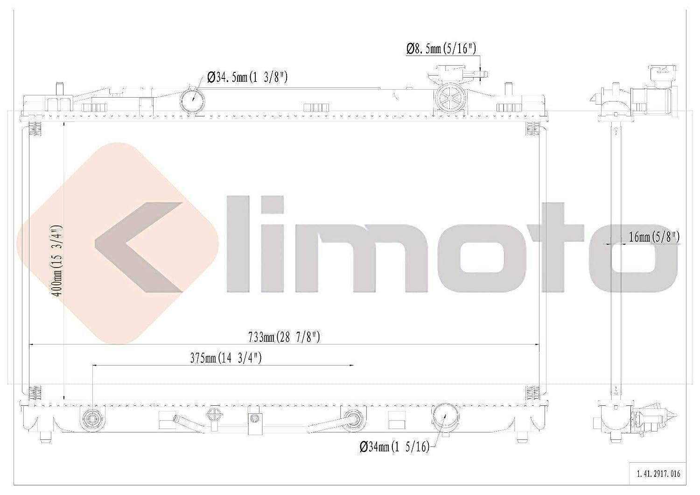 Klimoto Radiator Fits 2007-2011 Toyota Camry