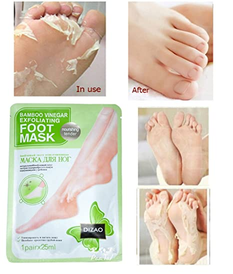 Exfoliante Máscara de pie calcetines para callos y muerto piel Remover con bambú vinagre Nutritivo Tender