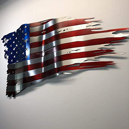 Metal Art of Wisconsin Wavy Weathered Old Glory Painted Metal Art 4-Foot