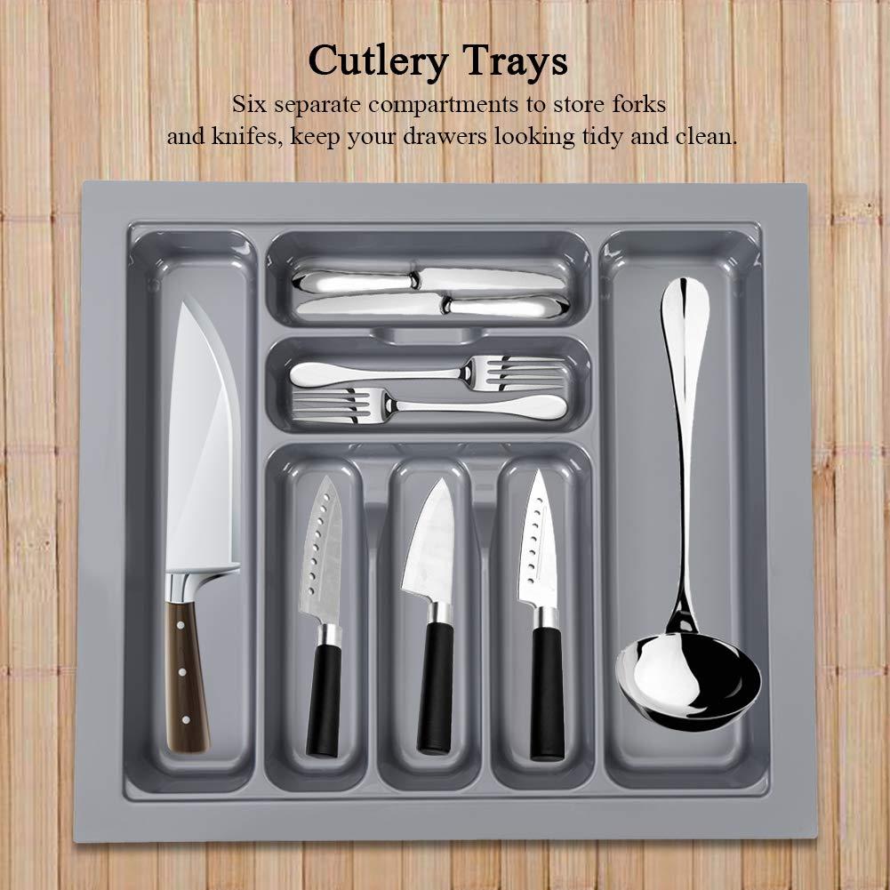 Gris 54 x 48.5 x 6 cm 600 mm Bandeja de Cubiertos de Caj/ón,Caja de Almacenamiento de Cuchillos y Tenedores de Cocina,7 Compartimentos,Pl/ástico