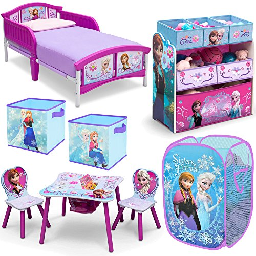 Disney Delta Children Frozen Elsa and Anna 8-Piece Furniture Set - Plastic Toddler Bed, Table and Chair Set, Multi Bin Toy Organizer, 2-Pack Storage Cube and Pop Up Hamper