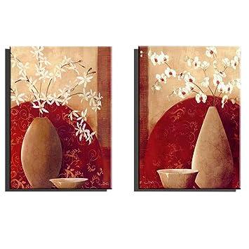 Botella minimalista minimalista de flores decorado de murales sin marco un conjunto de dos: Amazon.es: Hogar