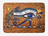Lunarable Egyptian Bath Mat, Egyptian Ancient Art Papyrus Depicting Eye Mosaic Style Design, Plush Bathroom Decor Mat with Non Slip Backing, 29.5 W X 17.5 W Inches, Navy Blue Orange and Brown