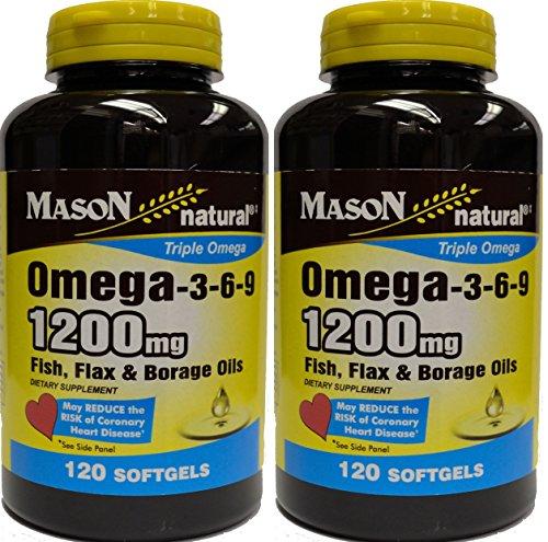 Mason natural fish oil flax seed borage oil triple for Fish oil 3 6 9