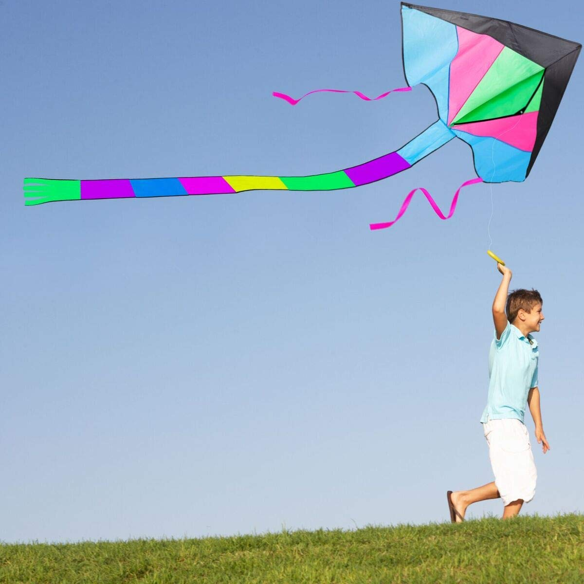 LIDERSTAR Huge Kite for Kids and Adults -Big Rainbow Kite 61 Inches Wide – Long Tail 95 inch,100 Meter String -Easy to Fly Toy for Outdoor Games Beach and Activities -Good Plan for Memorable Fun