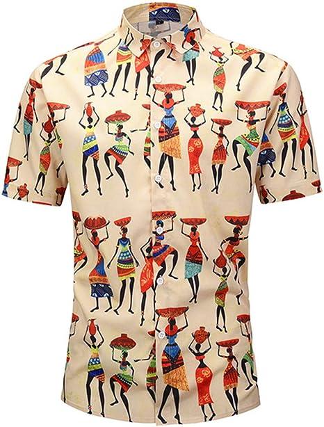 EverNight Camisas para Hombres Moda Camisa De Manga Corta con Estilo Indio Estampado Street Casual Loose Top Simple Y Versátil,Beige,M: Amazon.es: Hogar