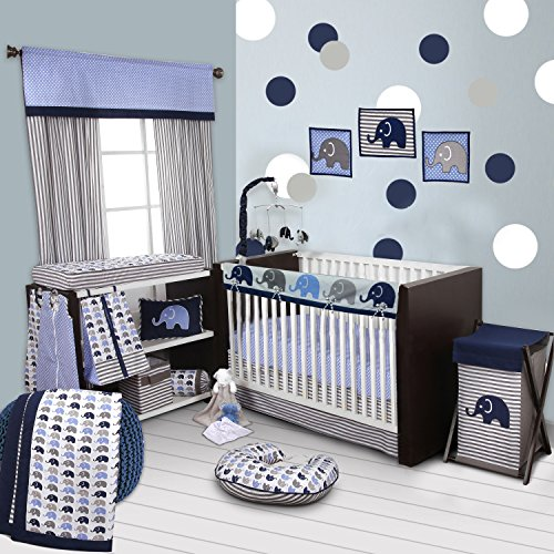 Bacati 10-Piece Elephants Nursery-in-A-Bag Crib Bedding Set with Long Rail Guard, Blue/Grey