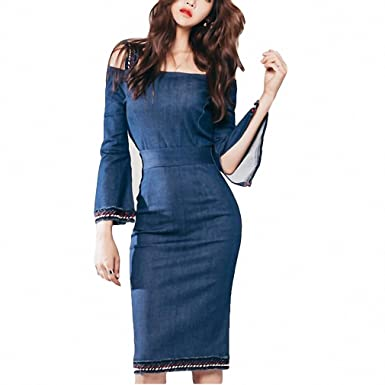 NEW Women Straps Pencil Dresses Long Sleeve Summer Sundress Slash Neck Female Denim Dress lan S