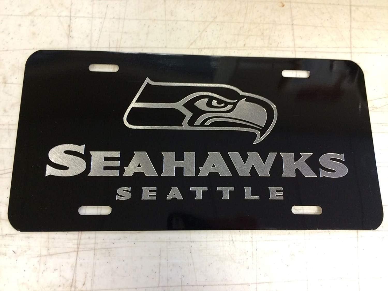 Chik yx Seattle Seahawks Car Tag on Black Aluminum License Plate