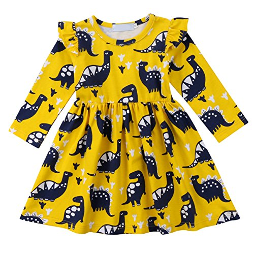 Qiylii Toddler Kids Baby Girl Dinosaur Dresses Ruffle Long Sleeve Holiday Dress Outfits Clothes (1-2 Years) -