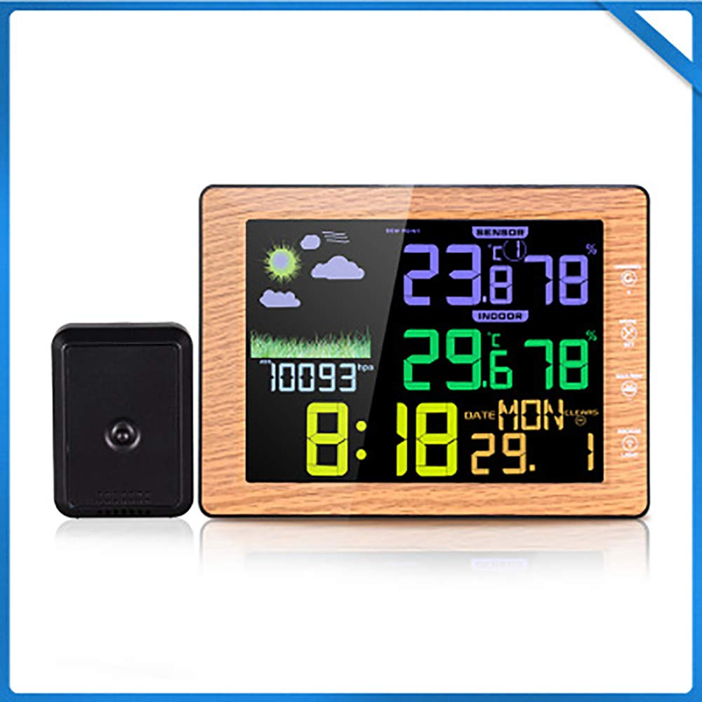 WEIWEI Digital Hygrometer, with Large Screen Touch Buttons Voice Control,Woody by WEIWEI