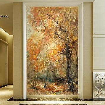 LHDLily Retro Nostalgie Öl Malerei Holz Wandmalereien Wohnzimmer  Schlafzimmer Studie Bar Cafe Tv Hintergrund 3D Wallpaper