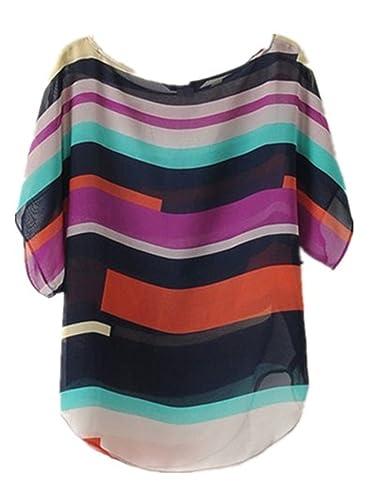 Sky Popular !!! Mujeres Color de La Camisa de La Gasa de La Raya Casual Loose Tops Blouses T-Shirt S...