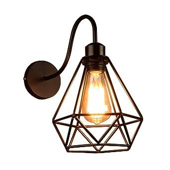 NIUYAO Lampe Applique Murale Forme De Diamant Fer Forgé Cadre Cage Métal  Wall Light Rétro Industrielle