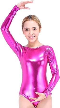 85e5d1a90a2624 Speerise Women Long Sleeve Shiny Metallic Lycra Spandex Gymnastics Leotard,  Black, XS
