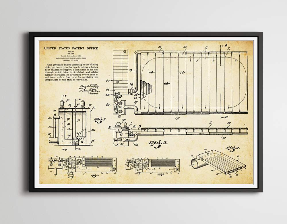 Amazon Com 1944 Ice Rink Hockey Patent Art Poster Up To Full Size 24 X 36 Ice Skating Nhl Blueprint Wall Decor Art Print Handmade