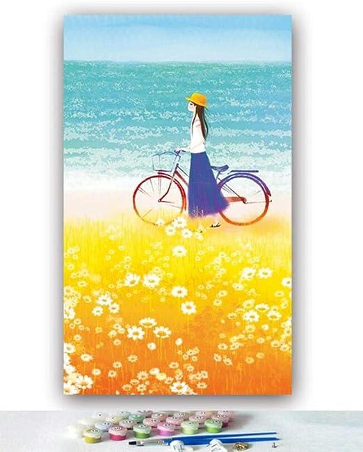 Pintura Al Óleo By Numbers Diy Straw Girl Bicicleta En El Campo De ...