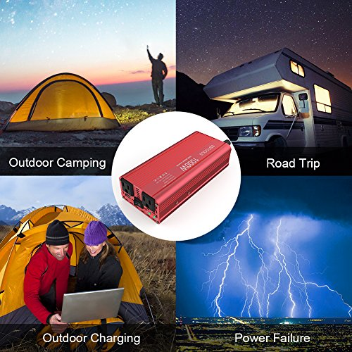 EBTOOLS Car Power Inverter, 1000W/2000W Inverter 12V DC to 110V AC Car Converter with 2 AC Outlets and 2.1A USB port for Laptop, Smartphone, Household Appliances in case Emergency, Storm and Outage by EBTOOLS (Image #5)