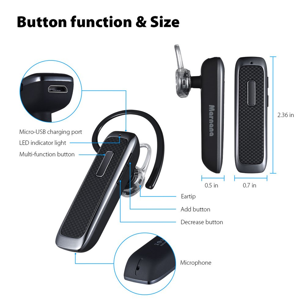 Bluetooth Headset, Wireless Bluetooth Earpiece with 18 Hours Playtime and Noise Cancelling Mic, Ultralight Earphone Hands-Free for iPhone iPad Tablet Samsung Android Cell Phone Calls by Marnana (Image #7)