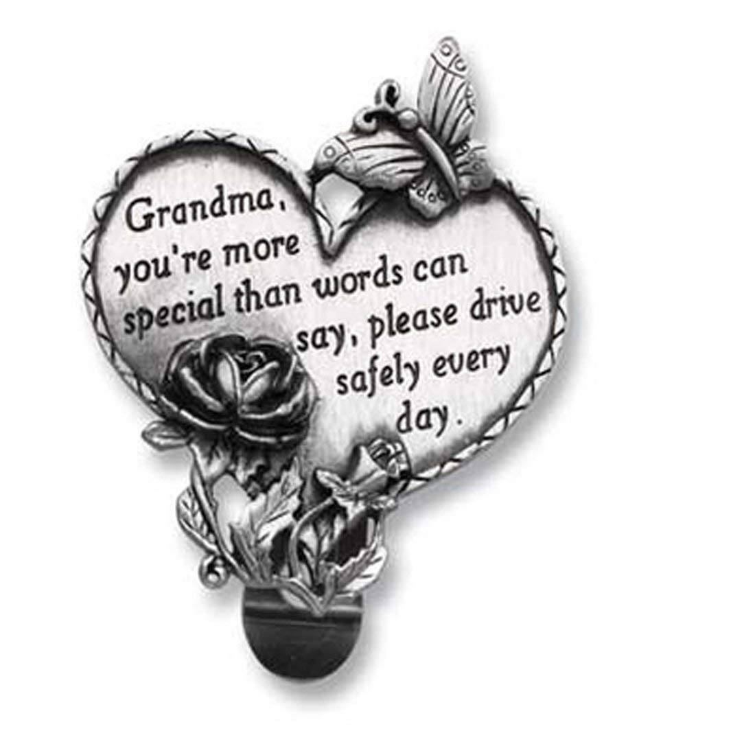 Cathedral Art KVC326 Heart Visor Clip, Grandma, 2-3/4-Inch