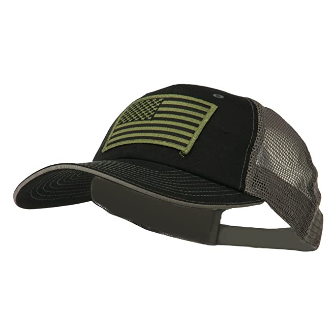 E4hats Subdued American Flag Patched Big Size Washed Mesh Cap - Black Grey  OSFM b0c11bf29bd