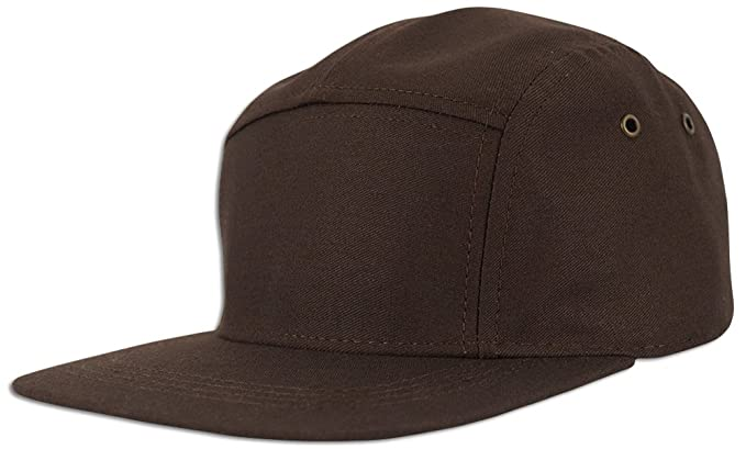 JLGUSA 5 Panel Solid Camo Cotton Biker Strapback Adjustable Leather Cadet Cap  Hat (Brown) a7e42ae3be08