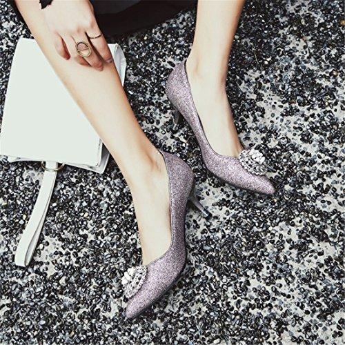 Dulce con Zapatos Zapatos luz Otoño la y Primavera La con Boquilla Fina Violet de Sra Tacón de de Punta la qpwSUWpXv