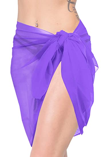 "763a98d420de9a LA LEELA Sheer Chiffon Beach Party Cover Up Girl Sarong Solid  68""X21"" Violet_165"