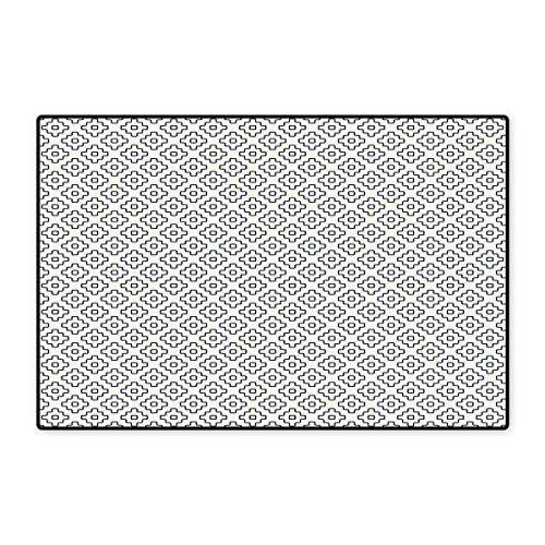 (Geometric Door Mats for Home Monochrome Asian Abstract Pattern with Square Shapes Angled Lines Design Bath Mat for Bathroom Mat 16