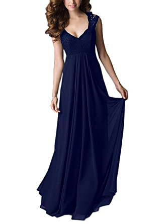 15e2cdea5c89b REMASIKO Women's Vintage Lace V Neck Sleeveless Maxi Bridesmaid Evening  Dress