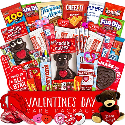 - Valentine's Day Care Package (40ct) - Snacks, Chocolates, Candy Gift Box - Assortment Variety Bundle Present for Boy, Girl, Friend, Student, College, Child, Husband, Wife, Boyfriend, Girlfriend, Love