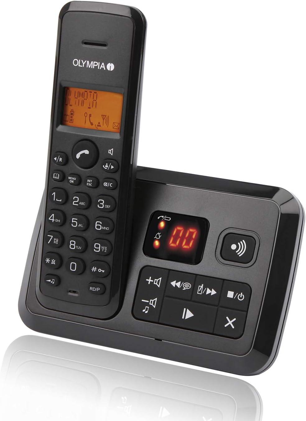 Olympia 2141 Certo - Teléfono inalámbrico con contestador automático, Color Negro: Amazon.es: Electrónica