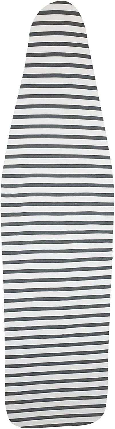 HOMZ Premium Standard Width Ironing Board Cover and Pad, Grey/White Stripe