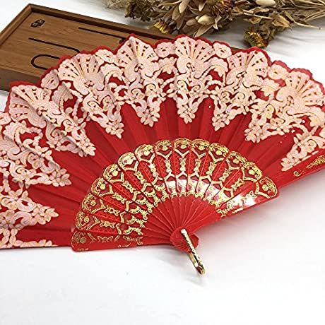 Red Spanish Hand Fan Floral Fabric Embroidered Peacock Tail Dance Fans Party Supplies For Gift