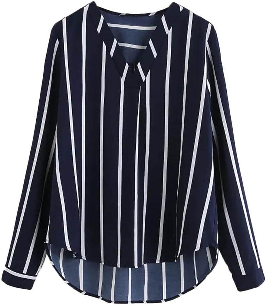 Riou Blusa de Moda con Cuello en V Camisa roja Holgada Casual de Manga Larga con Cuello en vy Camisa Azul a Rayas Azul Marino otoño Verano Navidad y Halloween: Amazon.es: Ropa