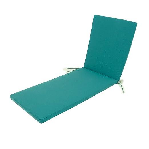 Edenjardi Cojín para Tumbona de Exterior Color Turquesa, Tamaño 196x60x5 cm, Repelente al Agua, Desenfundable