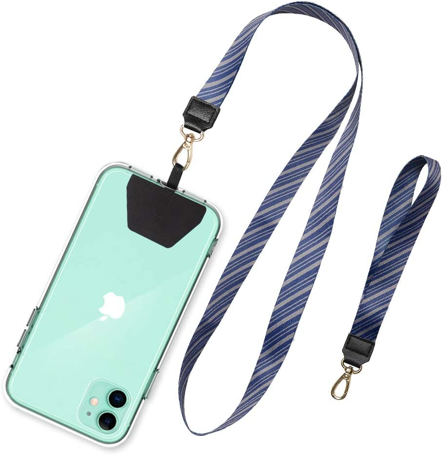 SHANSHUI Cell Phone Lanyard, Wonder Universal Phone Neck Strap Wirst Lasso Leash for Smartphone Safety Tether System - Blue