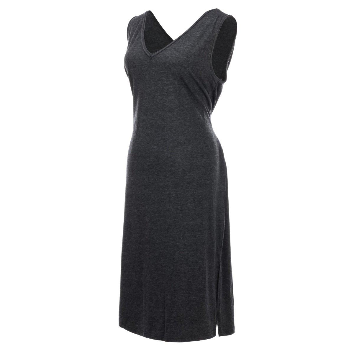 Angel Jewelry Women V-neck Simple Boho Long Maxi Dresses, Gray, One Size