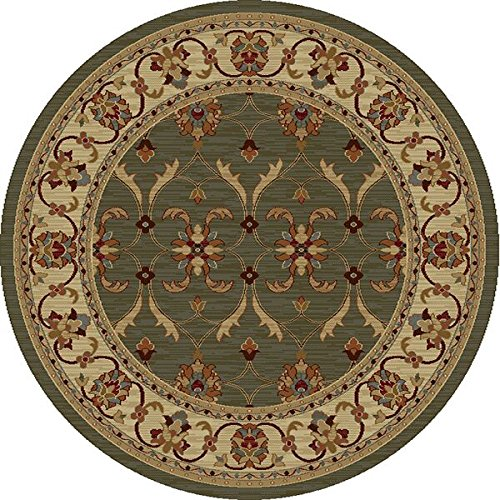 Agra Ivory Green - KAS Oriental Rugs Lifestyles Collection Agra Round Area Rug, 7' x 10