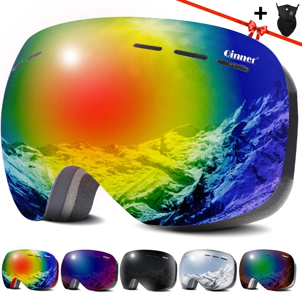 Qinner OTG Ski Goggles -Anti Fog UV Protection Snowboard Goggles with Free Ski Mask – Helmet Compatible Windproof Double Lens Snow Goggles for Men Women Youth Skiing Skating Outdoor Sports